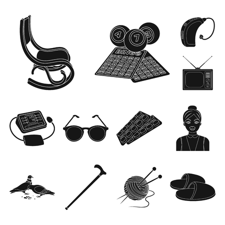 Human old age black icons in set collection for design. Pensioner, period of life vector symbol stock web illustration. Vettoriali