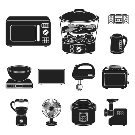 Types of household appliances black icons in set collection for design.Kitchen equipment vector symbol stock web illustration. Stock Illustratie