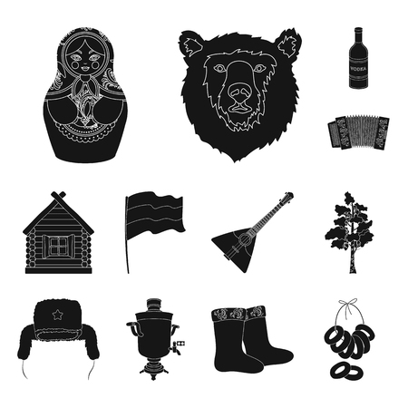Country Russia, travel black icons in set collection for design. Attractions and features vector symbol stock web illustration. Illustration