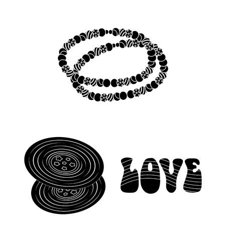 Glückliche und Attributschwarze Symbole in der Set-Sammlung für Design. Glückliche und Zubehörvektorsymbolvorrat-Webillustration.