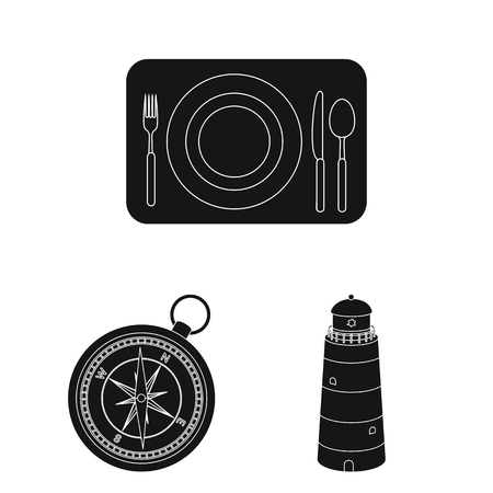 Rest and travel black icons in set collection for design. Transport, tourism vector symbol stock web illustration.