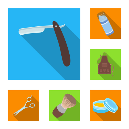 Barbershop and equipment flat icons in set collection for design. Haircut and shave vector symbol stock web illustration.