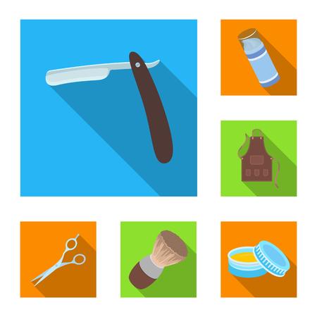 Barbershop en apparatuur plat pictogrammen in set collectie voor design. Kapsel en scheren symbool voorraad web vectorillustratie.