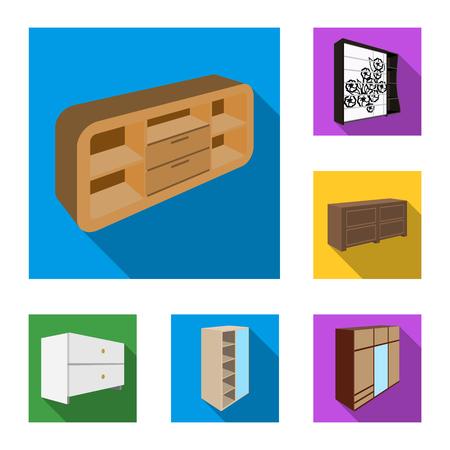 Iconos planos de muebles de dormitorio en colección set de diseño. Muebles de madera moderna isométrica vector símbolo stock web ilustración.