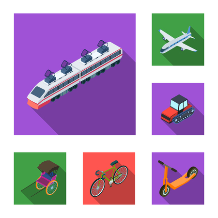 Different types of transport flat icons in set collection for design. Car and ship isometric vector symbol stock web illustration. Vettoriali