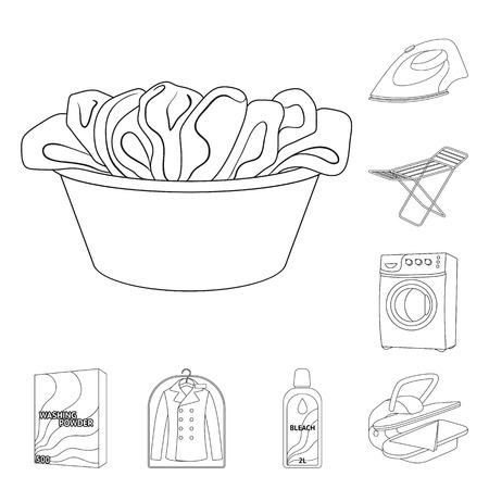 Dry cleaning equipment outline icons in set collection for design. Washing and ironing clothes vector symbol stock web illustration.