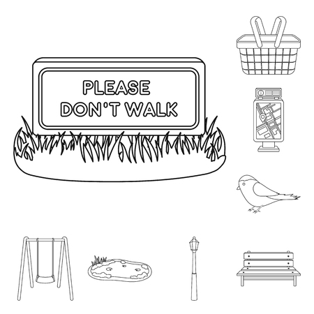 Park, equipment outline icons in set collection for design. Walking and rest vector symbol stock web illustration.  イラスト・ベクター素材