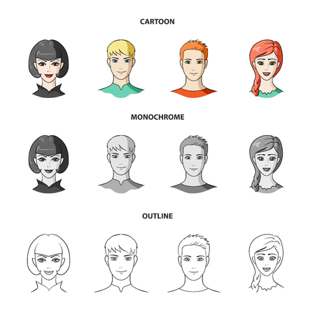Different looks of young people.Avatar and face set collection icons in cartoon,outline,monochrome style vector symbol stock illustration web. Stock Illustratie