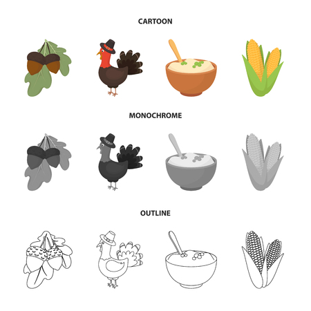 Acorns, corn.arthene puree, festive turkey,Canada thanksgiving day set collection icons in cartoon,outline,monochrome style vector symbol stock illustration web. Çizim