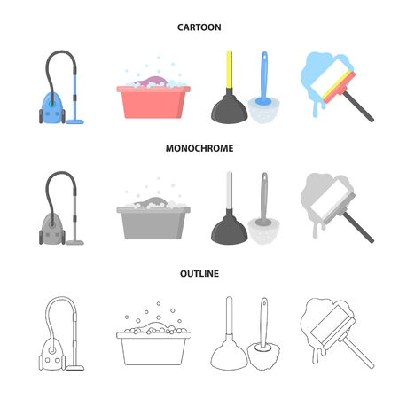 Cleaning and maid cartoon,outline,monochrome icons in set collection for design. Equipment for cleaning vector symbol stock web illustration.