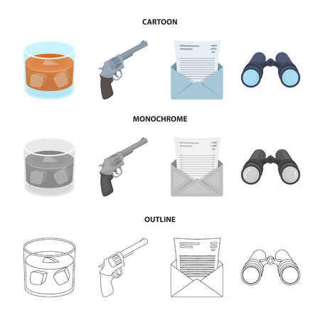 A glass of whiskey, a gun, binoculars, a letter in an envelope.Detective set collection icons in cartoon,outline,monochrome style vector symbol stock illustration web.