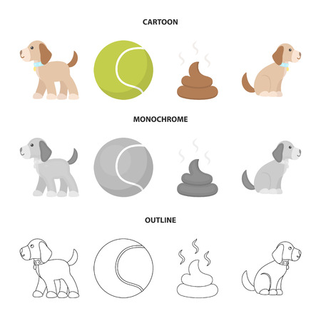 Dog sitting, dog standing, tennis ball, feces. Dog set collection icons in cartoon,outline,monochrome style vector symbol stock illustration web. Çizim