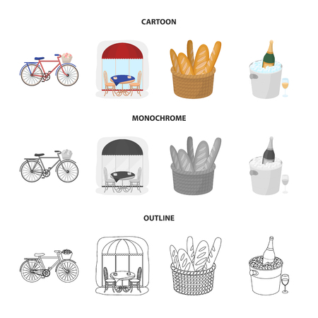 Bicycle, transport, vehicle,cafe .France country set collection icons in cartoon,outline,monochrome style vector symbol stock illustration web.
