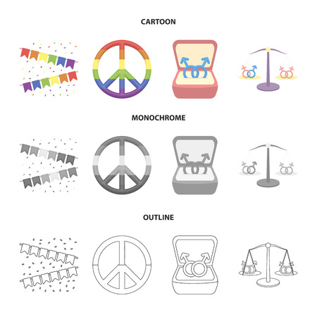 Flags, rainbow, emblem, rings. Gay set collection icons in cartoon,outline,monochrome style vector symbol stock illustration web.