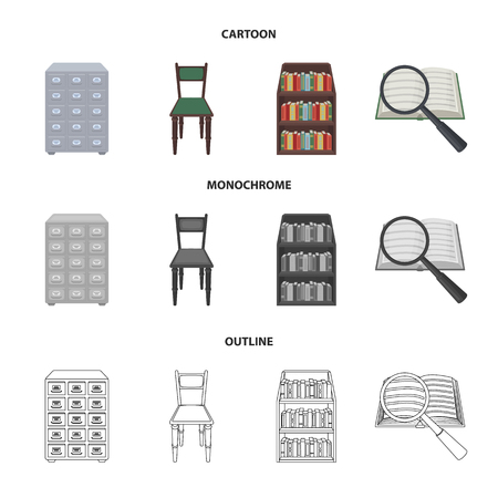 Cabinet with filing cabinet, chair, shelves, information search. Library and bookstore set collection icons in cartoon,outline,monochrome style vector symbol stock illustration web. Illusztráció