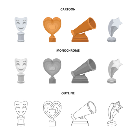 White Mask Mime for the best drama, a prize in the form of the heart and other prizes.Movie awards set collection icons in cartoon,outline,monochrome style vector symbol stock illustration web.