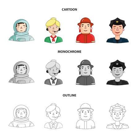 Un astronaute en combinaison spatiale, un collègue avec un microphone, un pompier avec un casque, un policier avec un badge sur sa casquette. Les gens de différentes professions définissent des icônes de la collection en dessin animé, contour, style monochrome vecteur symbole stock illustration web.