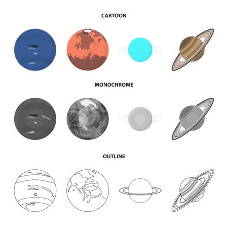 Neptune, Mars, Saturn, Uranus of the Solar System. Planets set collection icons in cartoon,outline,monochrome style vector symbol stock illustration web.