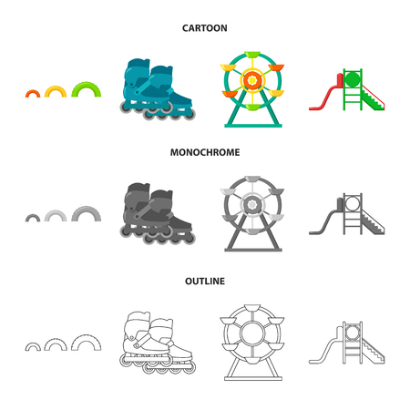 Ferris wheel with ladder, scooter. Playground set collection icons in cartoon,outline,monochrome style vector symbol stock illustration web.