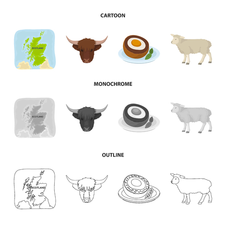 Territory on the map, bull head, cow, eggs. Scotland country set collection icons in cartoon,outline,monochrome style vector symbol stock illustration web.