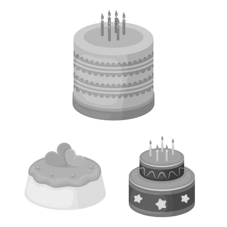 Cake and dessert monochrome icons in set collection for design. Holiday cake vector symbol stock web illustration. Vettoriali