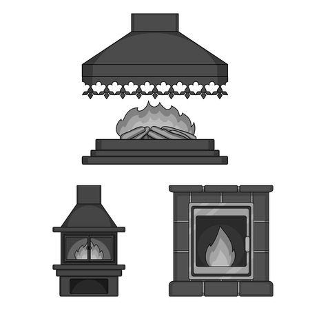 Different kinds of fireplaces monochrome icons in set collection for design.Fireplaces construction vector symbol stock  illustration.