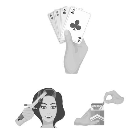 Manipulation by hands monochrome icons in set collection for design. Hand movement vector symbol stock  illustration. Ilustração