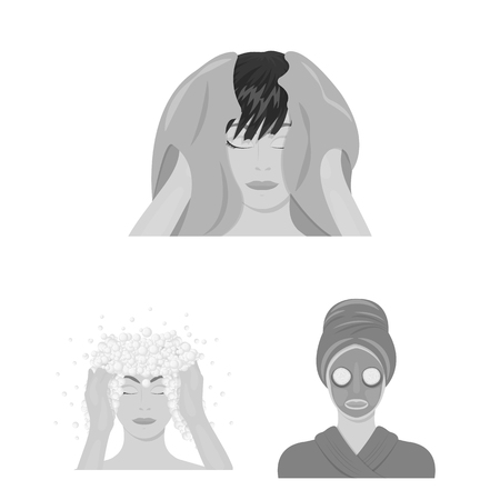 Care of hair and face monochrome icons in set collection for design. Perfumes and makeup vector symbol stock  illustration.