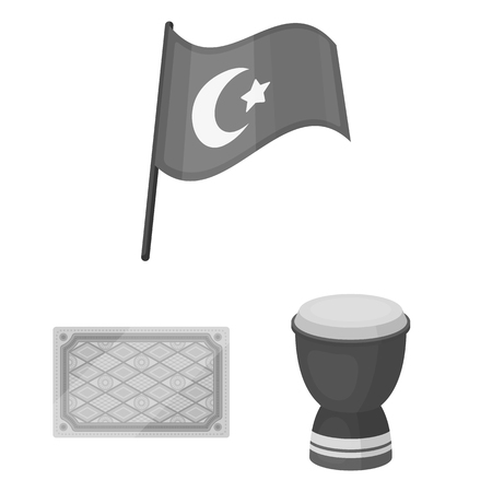 Turkey country monochrome icons in set collection for design.Travel and attractions vector symbol stock illustration.