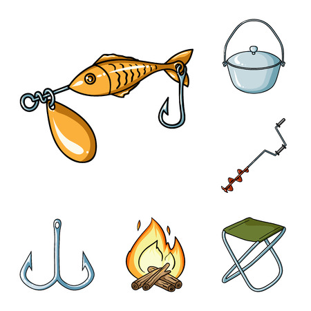 Fishing and rest cartoon icons in set collection for design. Tackle for fishing vector symbol stock  illustration. Vettoriali