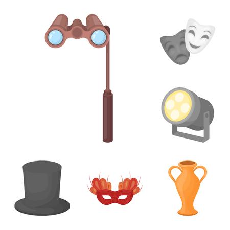 Theatrale kunst cartoon pictogrammen in set collectie voor design.Theater apparatuur en accessoires vector symbool stock illustratie. Vector Illustratie