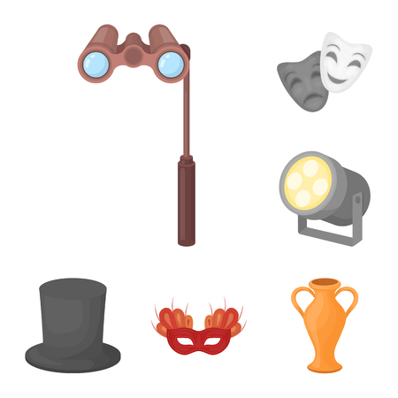 Theatrical art cartoon icons in set collection for design.Theater equipment and accessories vector symbol stock  illustration. Иллюстрация