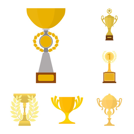 Gold Cup cartoon icons in set collection for design. Winners Cup vector symbol stock  illustration.