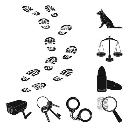 Prison and the criminalblack icons in set collection for design.Prison and Attributes vector symbol stock  illustration. Çizim