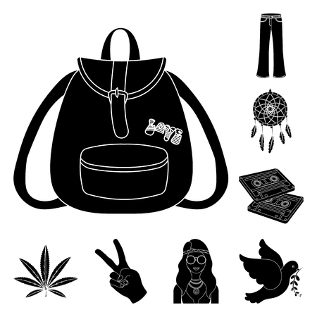 Happy and attribute black icons in set collection for design. Happy and accessories vector symbol stock  illustration. Vettoriali