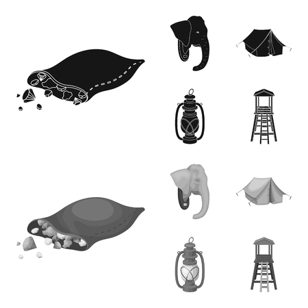 A bag of diamonds, an elephant head, a kerosene lamp, a tent. African safari set collection icons in black,monochrome style vector symbol stock illustration . Illustration