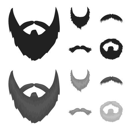 Mustache and beard, hairstyles black,monochrome icons in set collection for design. Stylish haircut vector symbol stock illustration.