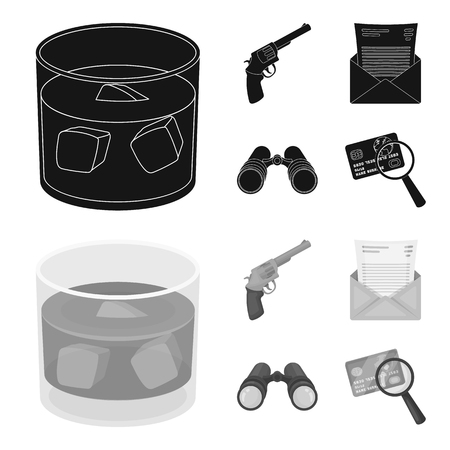 A glass of whiskey, a gun, binoculars, a letter in an envelope.Detective set collection icons in black,monochrome style vector symbol stock illustration .