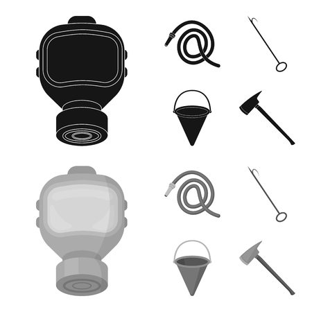 Gas mask, hose, bucket, bagore. Fire department set collection icons in black,monochrome style vector symbol stock illustration .