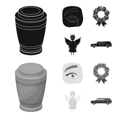 The urn with the ashes of the deceased, the tears of sorrow for the deceased at the funeral, the mourning wreath, the angel of death. Funeral ceremony set collection icons in black,monochrome style vector symbol stock illustration .
