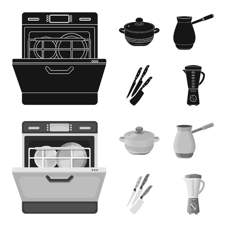 Kitchen equipment black,monochrome icons in set collection for design. Kitchen and accessories vector symbol stock  illustration. Ilustrace