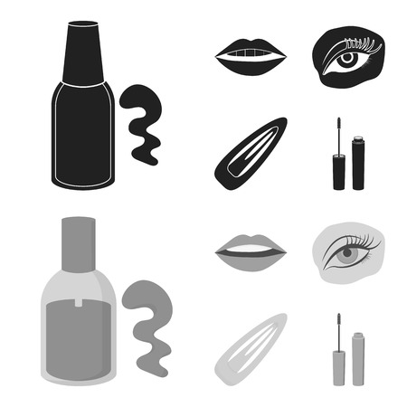 Nail polish, tinted eyelashes, lips with lipstick, hair clip.Makeup set collection icons in black,monochrome style vector symbol stock illustration .
