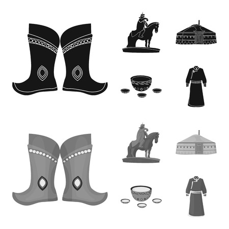 Military boots, a monument to the rider, a national tent, a milk drink. Mongolia set collection icons in black,monochrome style vector symbol stock illustration .