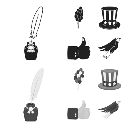 Balloons, inkwell with a pen, Uncle Sam hat. The patriot day set collection icons in black,monochrome style vector symbol stock illustration .