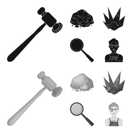 A jeweler hammer, a magnifier, a copper ore, a crystal. Precious minerals and a jeweler set collection icons in black,monochrome style vector symbol stock illustration .