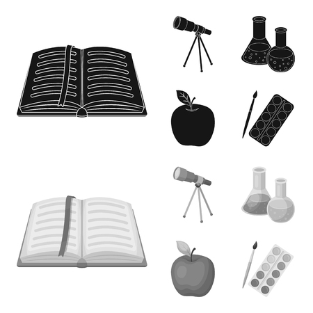 An open book with a bookmark, a telescope, flasks with reagents, a red apple. Schools and education set collection icons in black,monochrome style vector symbol stock illustration web. Illustration