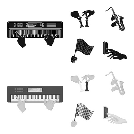 Playing on an electric musical instrument, manipulation with chess pieces and other web icon in black,monochrome style. playing on a gold saxophone, checkered flag of auto racing in hand icons in set collection.