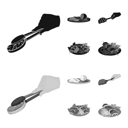 Tongs with steak, fried meat on a scoop, slicing lemon and olives, shish kebab on a plate with vegetables. Food and Cooking set collection icons in black,monochrome style vector symbol stock illustration web.