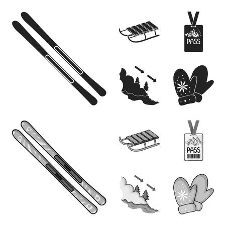 Ski, sled, lifeguard badge, badge avalanche. Ski resort set collection icons in black,monochrome style vector symbol stock illustration web. Illustration