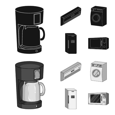 Home appliances and equipment black,monochrome icons in set collection for design.Modern household appliances vector symbol stock web illustration. Illustration